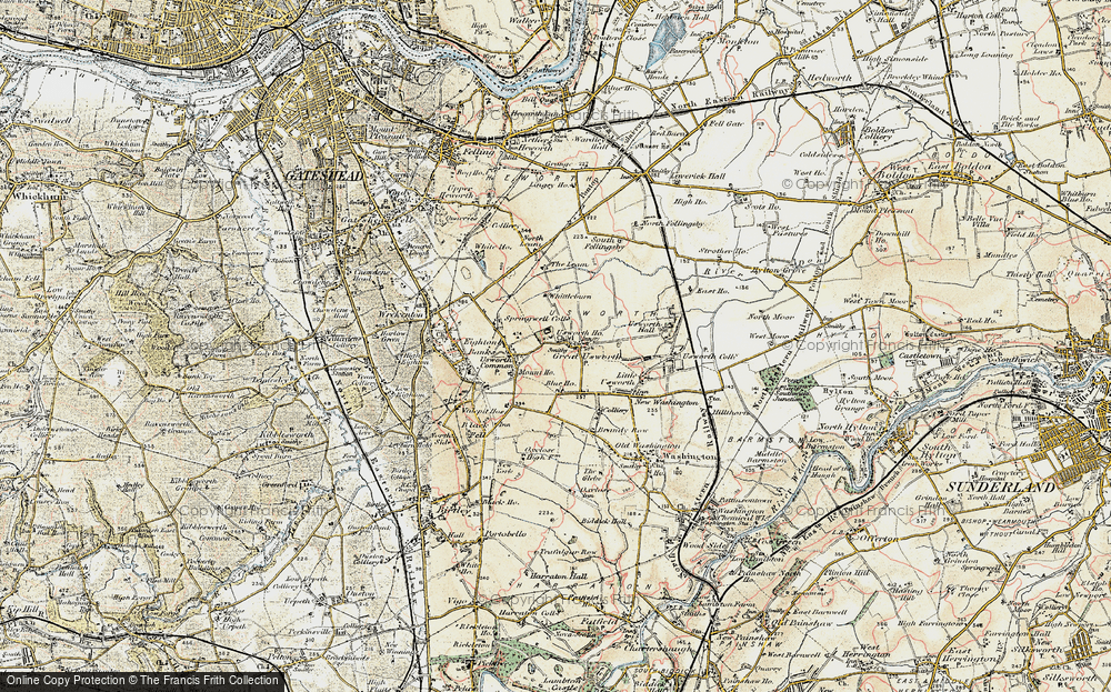Old Map of Historic Map covering Leam, The in 1901-1904