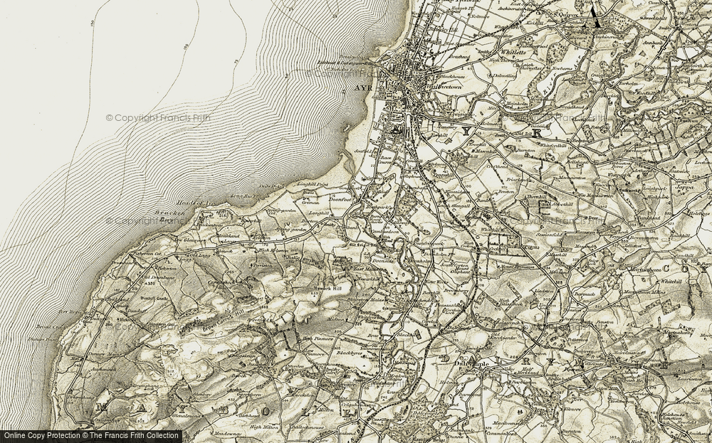 Old Map of Historic Map covering Auld Brig o' Doon in 1904-1906