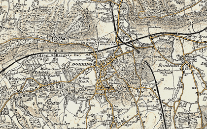 Old map of Dorking in 1898-1909