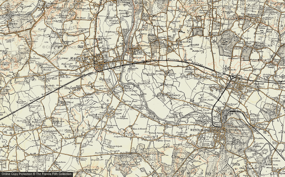 Old Map of Historic Map covering Amerden Ho in 1897-1909