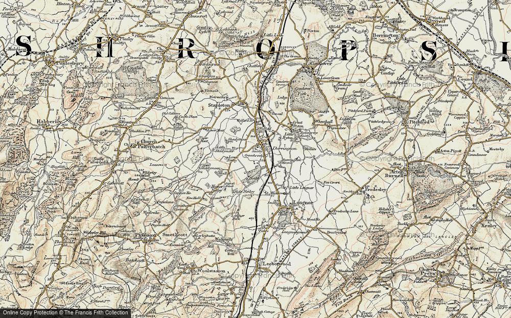 Old Map of Dorrington, 1902-1903 in 1902-1903