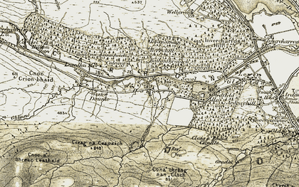 Old map of Dounie in 1911-1912