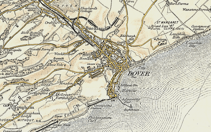Old map of Dover in 1898-1899