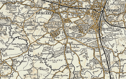 Old map of Doversgreen in 1898-1909