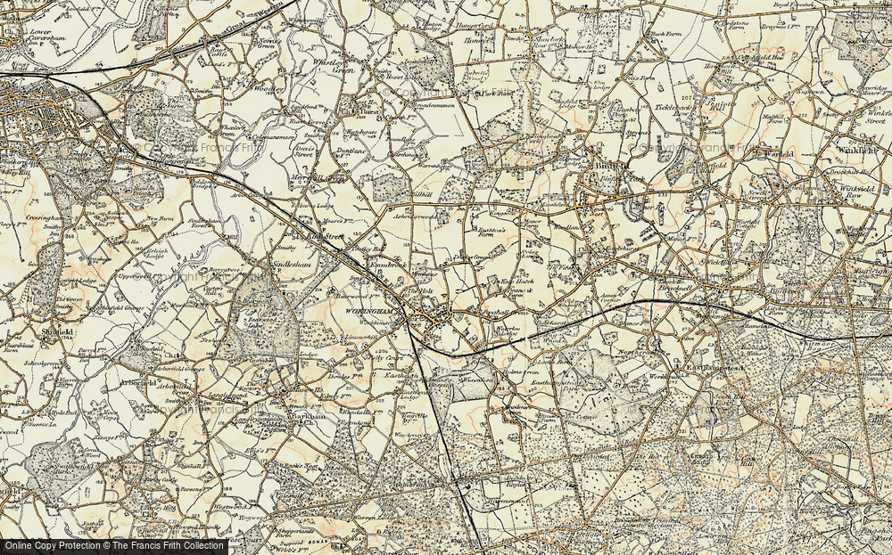 Old Map of Historic Map covering Ashridge Manor in 1897-1909