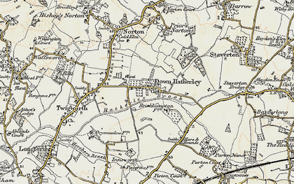 Old map of Down Hatherley in 1898-1900