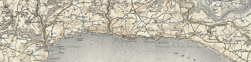 Old map of Downderry in 1899-1900