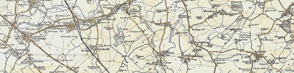 Old map of Willen Park in 1898-1901
