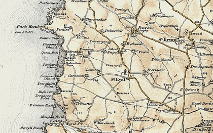 Old map of Downhill in 1900