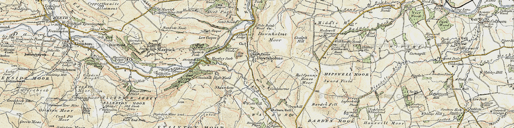 Old map of Downholme in 1903-1904