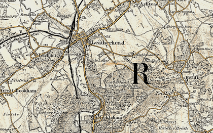 Old map of Downside in 1897-1909