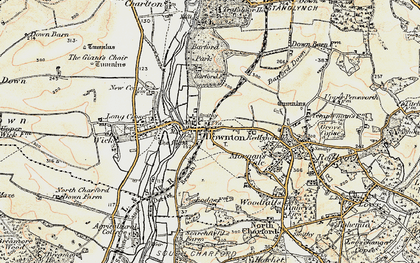 Old map of Downton in 1897-1909