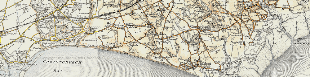 Old map of Downton in 1899-1909