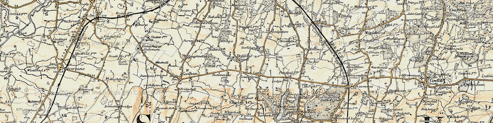 Old map of Woodgetters in 1898