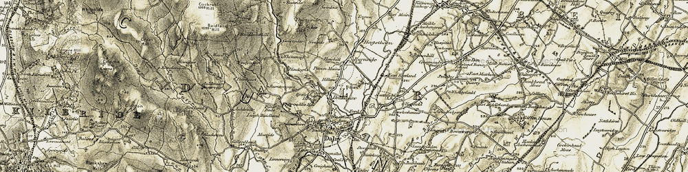 Old map of Whitecraig in 1905-1906