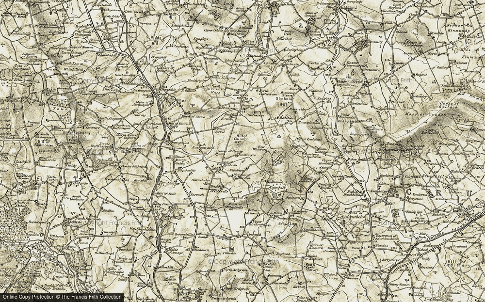 Old Map of Historic Map covering Backhill of Coldwells in 1909-1910