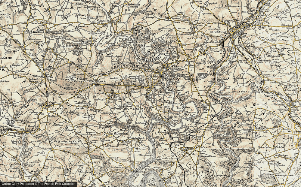 Old Map of Historic Map covering Albaston in 1899-1900