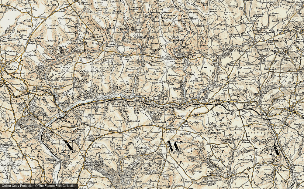 Old Map of Historic Map covering Largin Wood in 1900