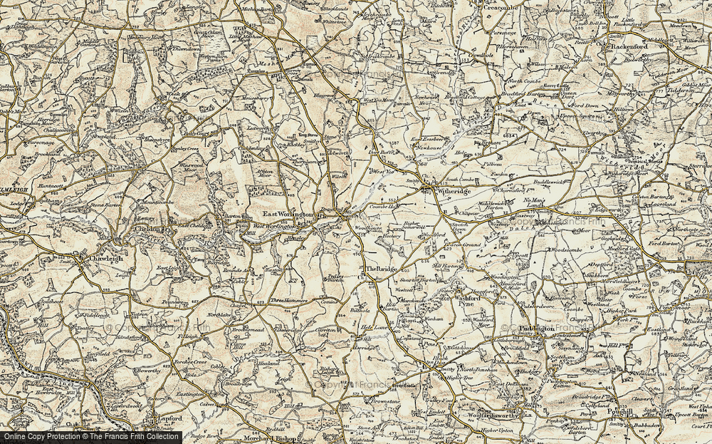 Old Map of Historic Map covering Woodhouse Villa in 1899-1900