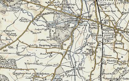 Old map of Drayton Bassett in 1901-1902