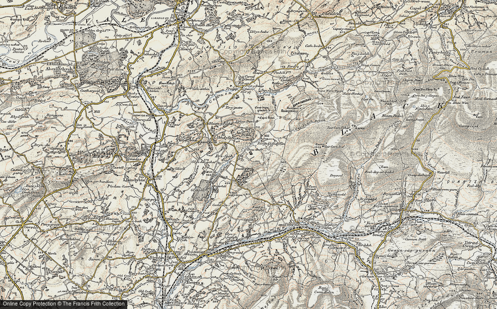Old Map of Historic Map covering Afon Llwchwr in 1900-1901