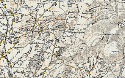 Old map of Afon Llwchwr in 1900-1901