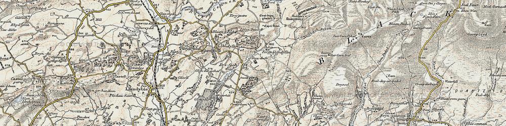 Old map of Afon Llwchwr in 1900-1901