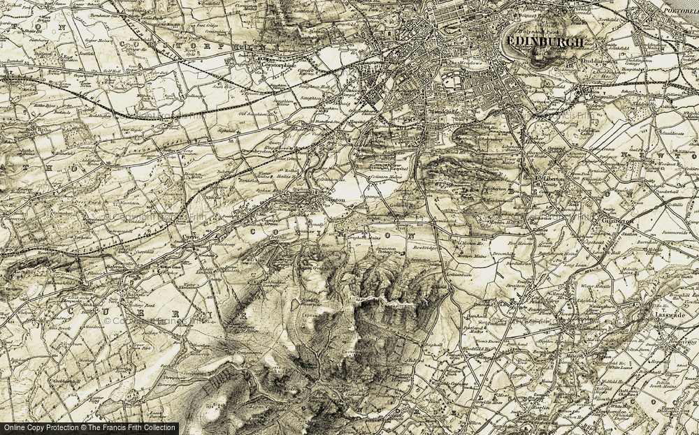 Old Map of Historic Map covering Allermuir Hill in 1903-1904