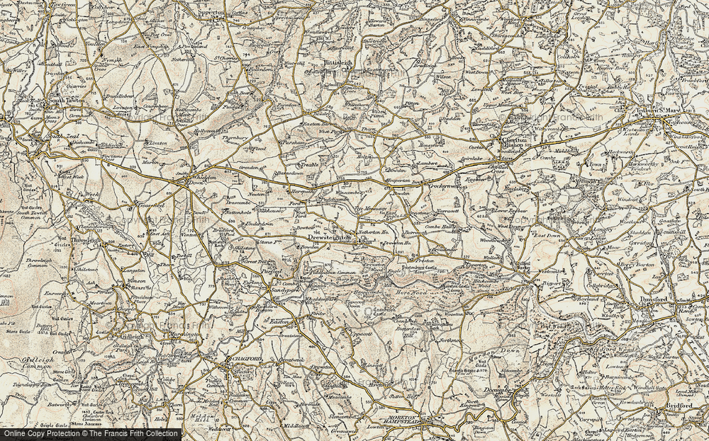 Old Map of Historic Map covering Bakesdown in 1899-1900
