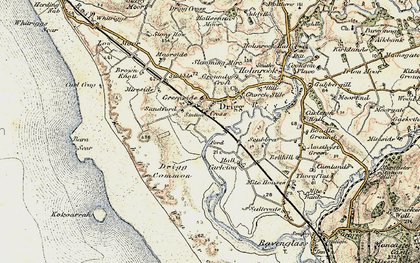 Old map of Drigg in 1903-1904