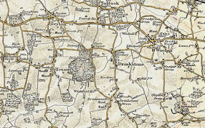 Old map of Drinkstone in 1899-1901