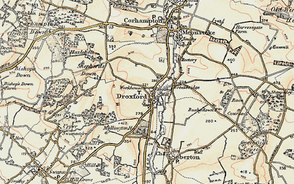 Old map of Droxford in 1897-1900