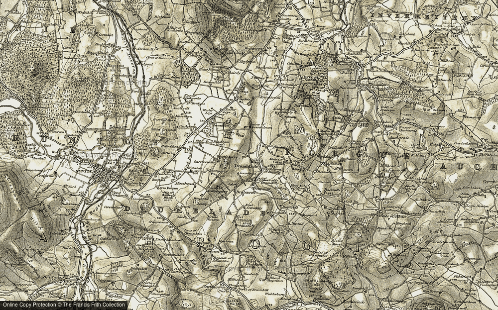 Old Map of Historic Map covering Lessendrum in 1908-1910