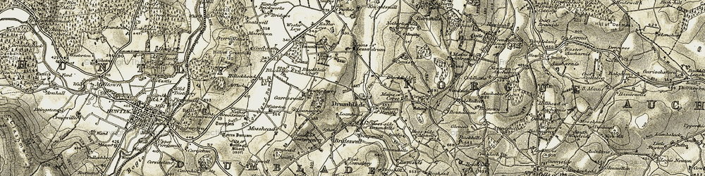 Old map of Leys in 1908-1910