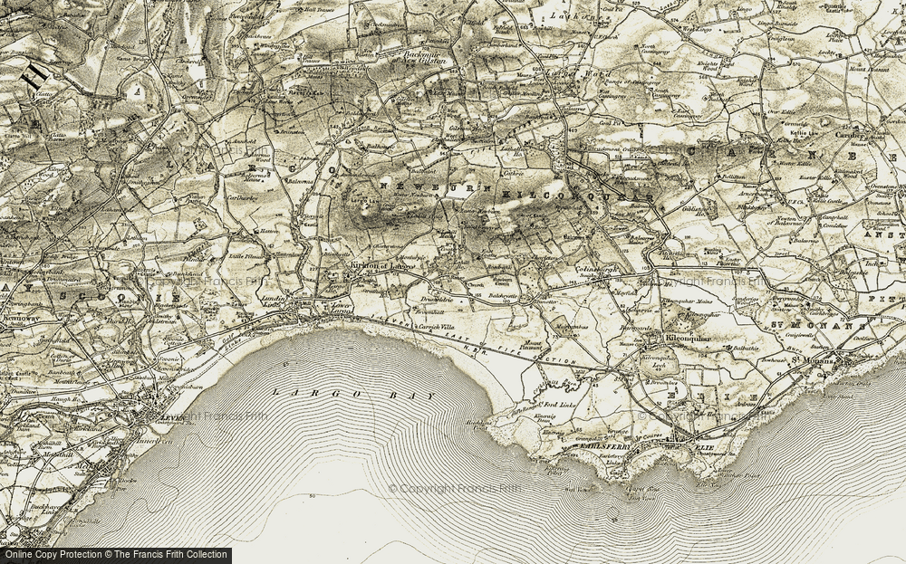 Old Map of Historic Map covering Balchrystie in 1903-1908