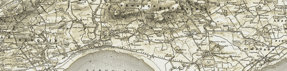 Old map of Wester Newburn in 1903-1908