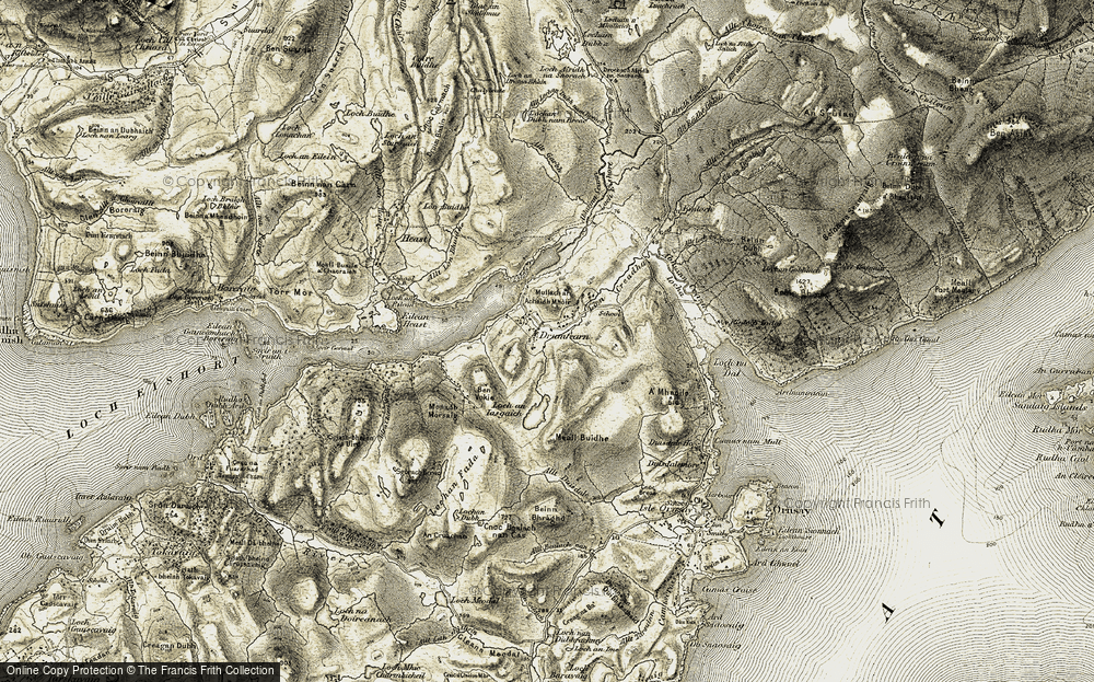 Old Map of Historic Map covering Abhainn Ceann Loch Eiseoirt in 1906-1909