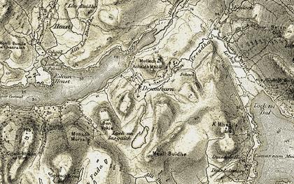 Old map of Abhainn Ceann Loch Eiseoirt in 1906-1909