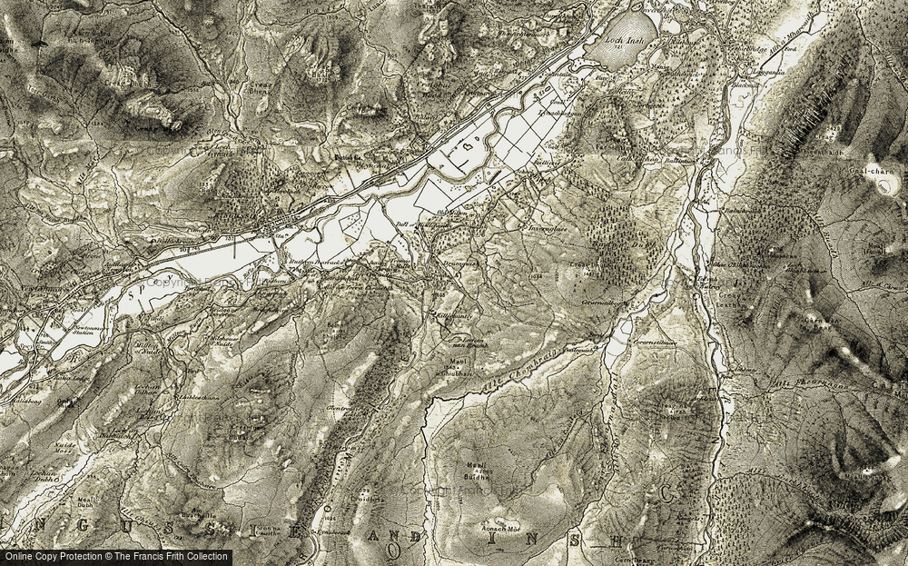 Old Map of Historic Map covering Allt Chomhraig in 1908