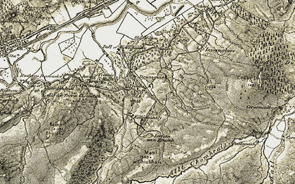 Old map of An Dubharach in 1908