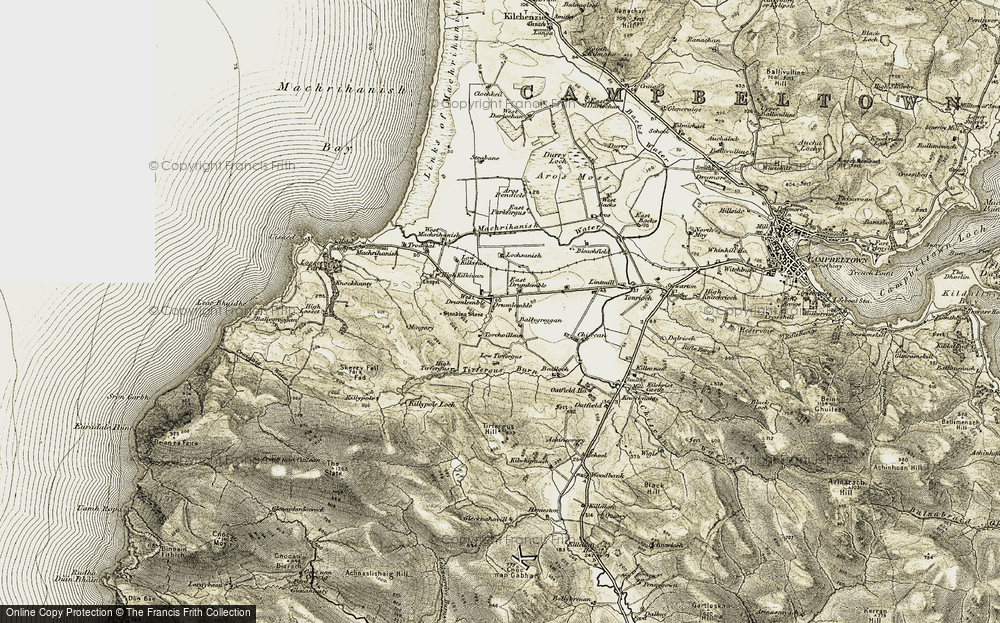 Old Map of Historic Map covering Auchencorvie in 1905