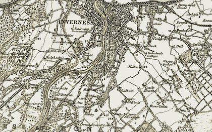 Old map of Drummond in 1908-1912