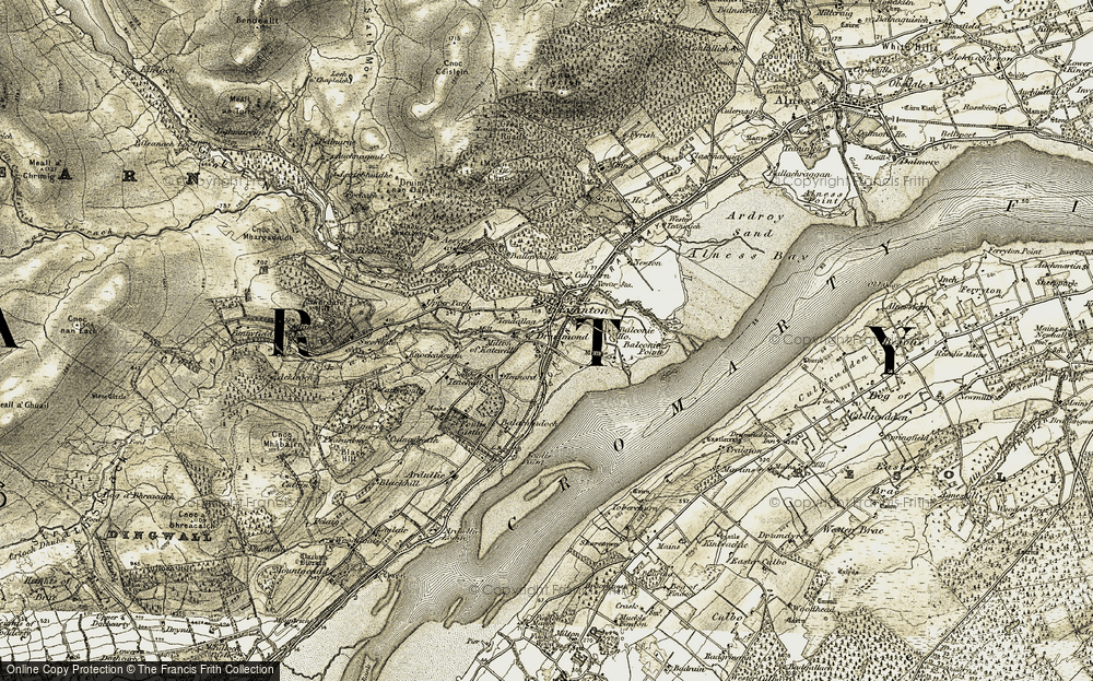 Old Map of Historic Map covering Balconie Point in 1911-1912