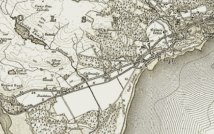 Old map of Drummuie in 1910-1912