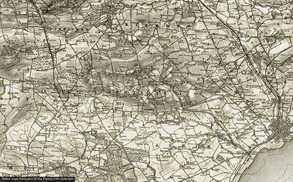 Old Map of Historic Map covering Tillyhiot in 1907-1908