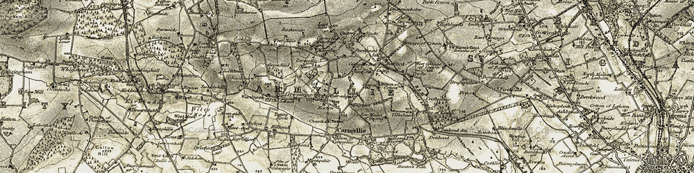Old map of Tillyhiot in 1907-1908