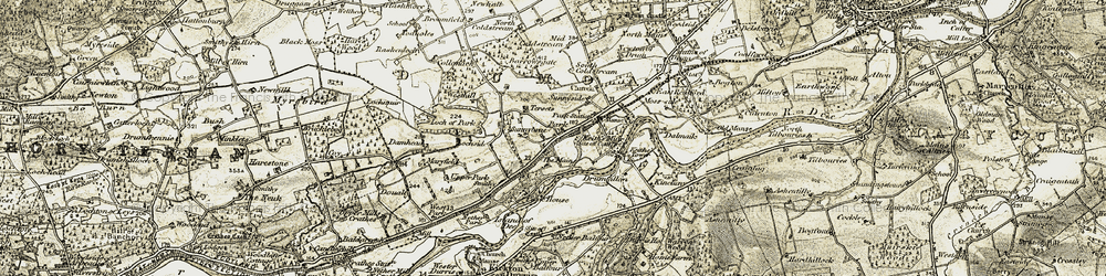 Old map of Drumoak in 1908-1909
