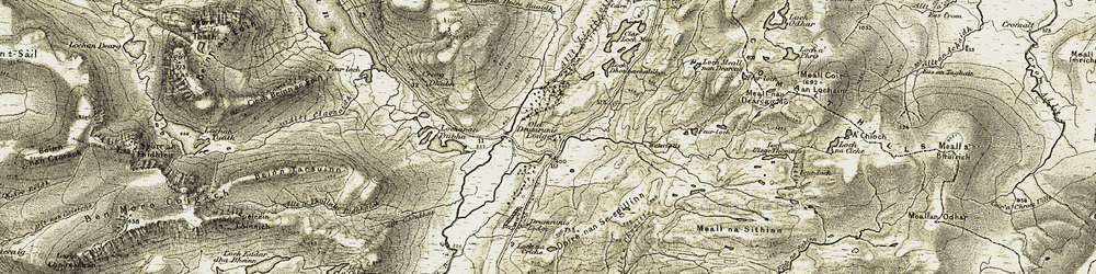 Old map of Allt a' Chuaille in 1908-1912