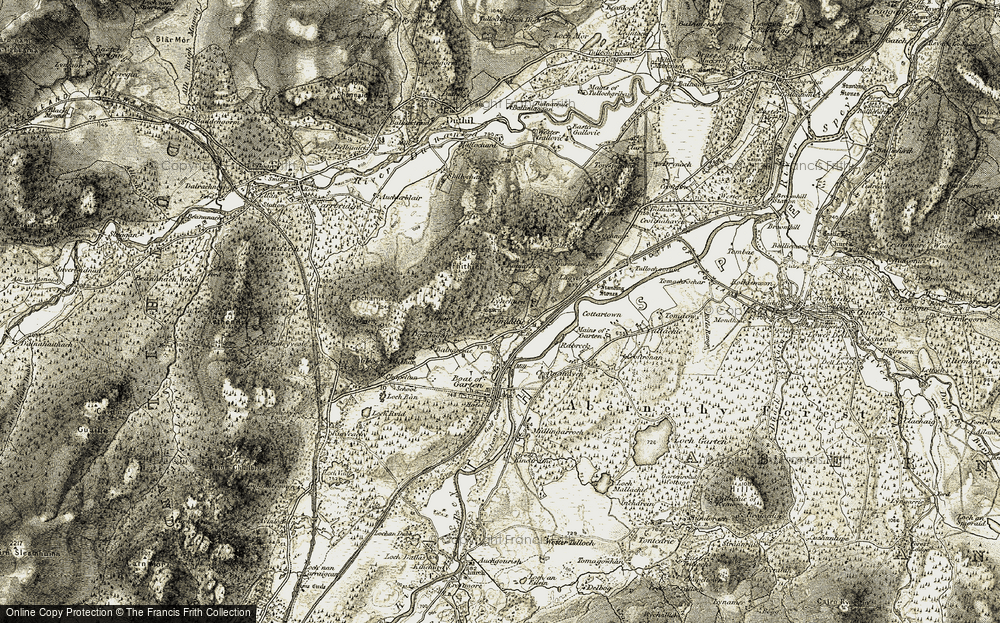 Old Map of Historic Map covering Tomdhu in 1908-1911