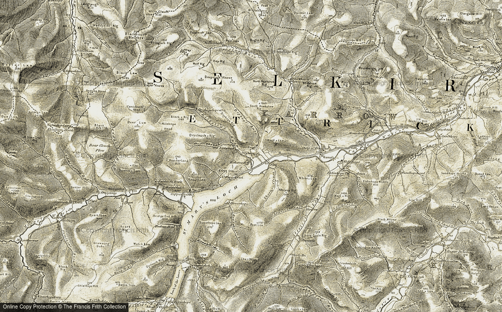 Old Map of Historic Map covering Altrieve Rig in 1904